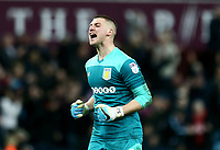 Sam Johnstone of Aston Villa celebrates Aston Villa's victory against Wolverhampton Wanderers.<br /> <br /> Photographer Leila Coker/CameraSport<br /> <br /> The EFL Sky Bet Championship - Aston Villa v Wolverhampton Wanderers - Saturday 10th March 2018 - Villa Park - Birmingham<br /> <br /> World Copyright &copy; 2018 CameraSport. All rights reserved. 43 Linden Ave. Countesthorpe. Leicester. England. LE8 5PG - Tel: +44 (0) 116 277 4147 - admin@camerasport.com - www.camerasport.com