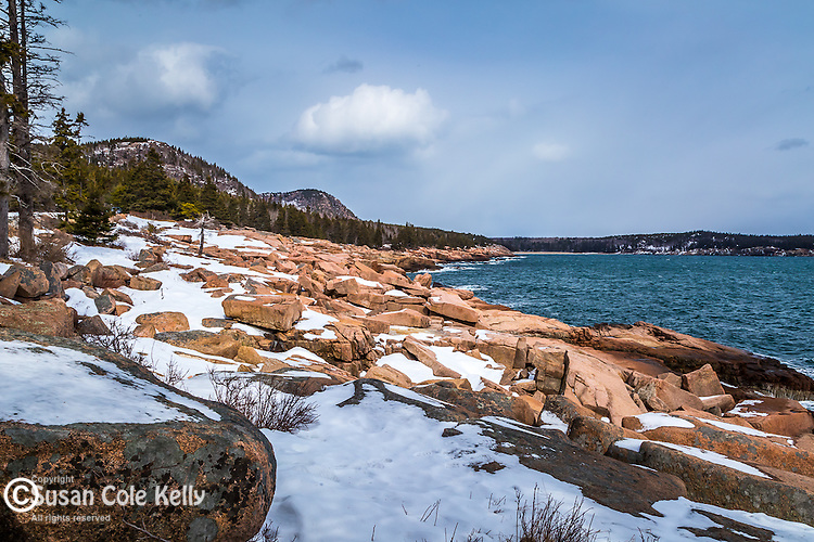 Winter view from the Shore Path in Acadia National Park, Maine, USA