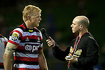 Radio Sports Dale Budge interviews Baden Kerr at the completion of the game. ITM Cup rugby game between Counties Manukau and Manawatu played at Bayer Growers Stadium on Saturday August 21st 2010..Counties Manukau won 35 - 14 after leading 14 - 7 at halftime.