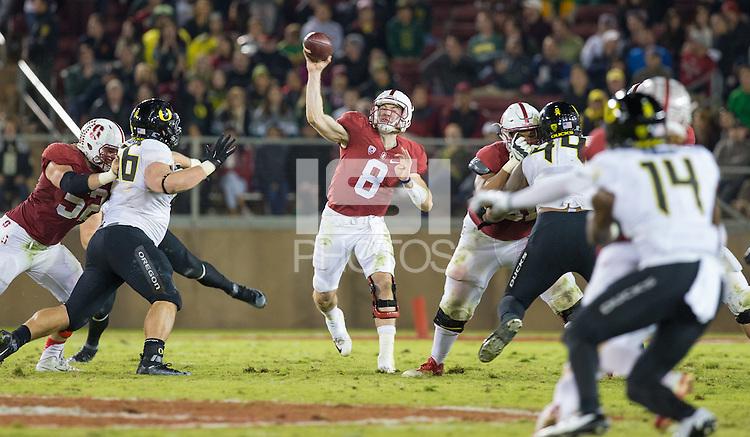 Stanford, CA - November 14, 2015: Stanford vs University of Oregon football game at Stanford Stadium. The Ducks won 38-36.