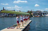 """Henley on Thames, United Kingdom, 3rd July 2018, Saturday,  """"Henley Royal Regatta"""",  """"Oxford Brookes Universty"""", """"Eight Boating"""", Henley Reach, River Thames, Thames Valley, England, UK."""