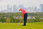 29 August 2009: Paul Goydos putts on the 14th green during the third round of The Barclays PGA Playoffs at Liberty National Golf Course in Jersey City, New Jersey.