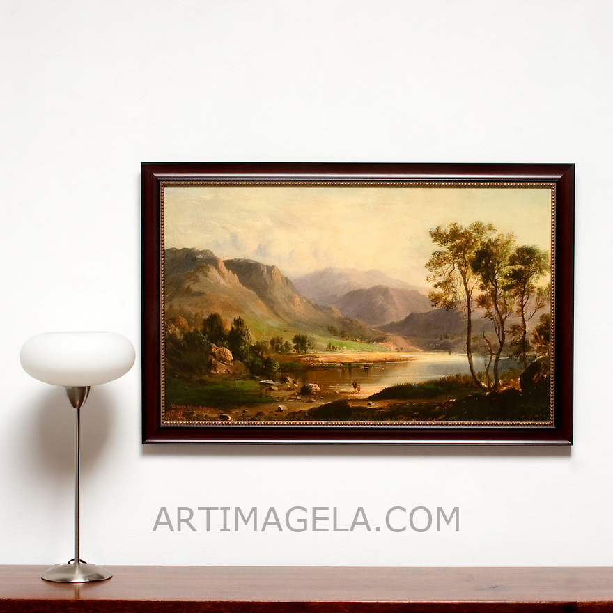 "Reproduction of Duncanson, Robert Scott (1821/22-1872) Loch Long. 1867. Framed Size 26 x 40"" x 1"