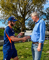 Kane Williamson of the Black Caps give Scyld Berry of The Daily and Sunday Telegraph a memento for covering his 450 matchs during Day 4 of the Second International Cricket Test match, New Zealand V England, Hagley Oval, Christchurch, New Zealand, 2nd April 2018.Copyright photo: John Davidson / www.photosport.nz