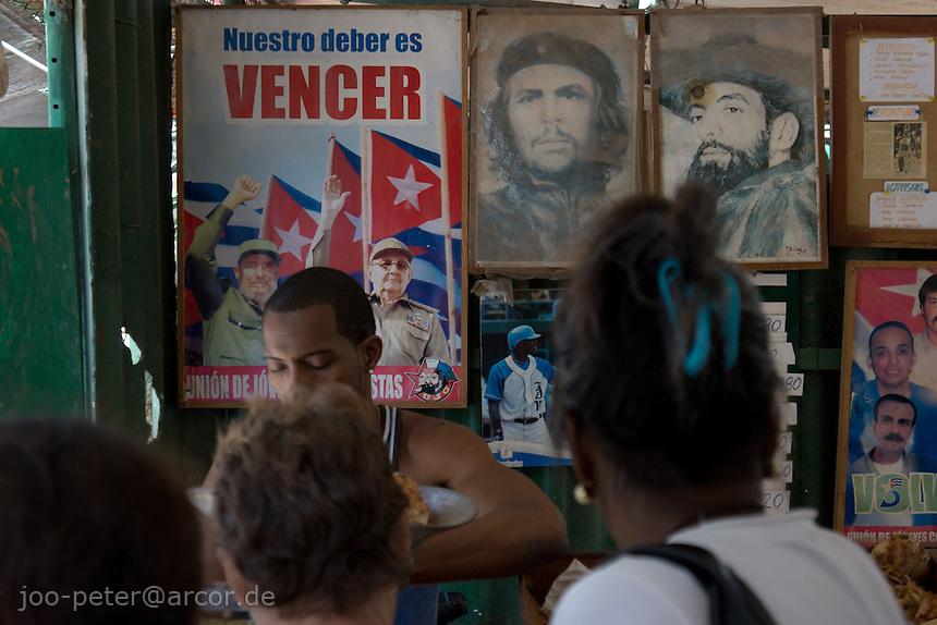 shop in Havana, Cuba with revolutionary posters