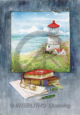 Interlitho, Emilia, LANDSCAPES, paintings, lighthouse, books(KL3867,#L#) Landschaften, Schiffe, paisajes, barcos, llustrations, pinturas
