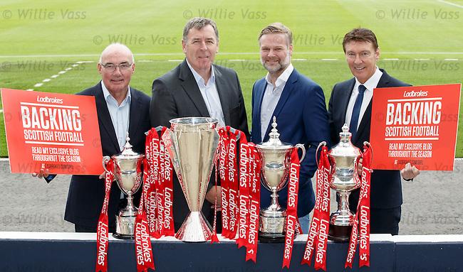 Willie Miller, Pat Bonner, Steven Pressley and Gordon Smith join up at Hampden Park as Ladbrokes Ambassadors for the SPFL