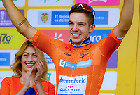 MEDELLIN - COLOMBIA, 13-02-2019: Alvaro HODEG (COL), Deceuninck - Quick Step Floors, celebra como líder general después de la segunda etapa del Tour Colombia 2.1 2019 con un recorrido de 150.5 Km, que se corrió entre La Ceja Canadá - Carmen de Viboral - Rionegro - Canadá - La Ceja. / Alvaro HODEG (COL), Deceuninck - Quick Step Floors, celebrates as general leader after  the second stage of 150.5 km of Tour Colombia 2.1 2019 that ran through La Ceja Canada - Carmen de Viboral - Rionegro - Canada - La Ceja.  Photo: VizzorImage / Anderson Bonilla / Cont