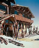 ARGENTINA, Bariloche, Cerro Cathedral, ski boards kept in front of ski resort