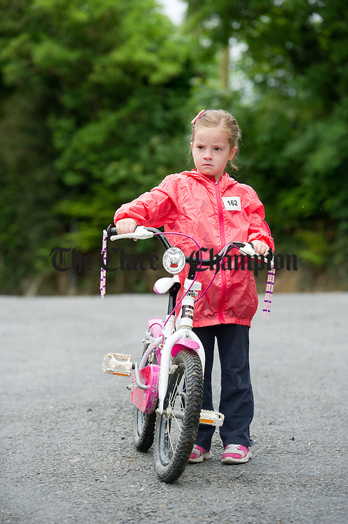 Charlie Dillon ready with her bike for the  Oatfield Church re-development fund fun walk/run/cycle. Photograph by John Kelly.