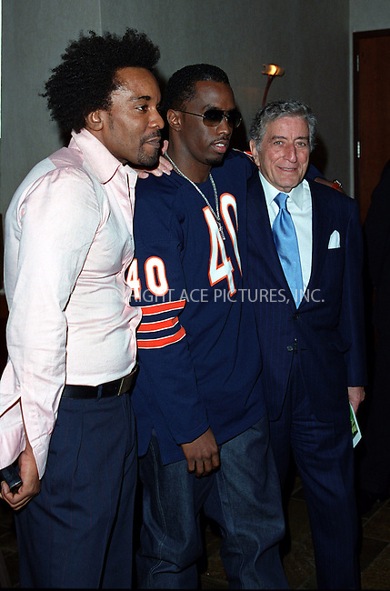 """*WORLD SYNDICATION RIGHTS*..Producer Lee Daniels hosting special charity screening of """"Monster's Ball"""" at the Tribeca Grand Hotel in New York. Picture shows (L to R) Lee Daniels, Sean 'P. Daddy' Combs and Tony Bennett. December 20, 2001. © 2001 by Alecsey Boldeskul...ONE-TIME REPRODUCTION RIGHTS..HI RES SCAN AVAILABLE UPON REQUEST"""