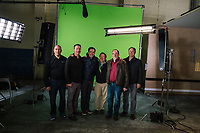 Tag (2018)  <br /> (L-R) Real Tag Brother JOEY TOMBARI, real Tag Brother BILL AKERS, ED HELMS, real Tag Brother PATRICK SCHULTHEIS, real Tag Brother RICK BRUYA and real Tag Brother MIKE KONESKY on the set of <br /> *Filmstill - Editorial Use Only*<br /> CAP/MFS<br /> Image supplied by Capital Pictures