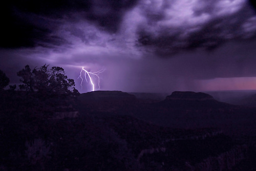 A bolt of lightning strikes at Grand Canyon National Park in Arizona