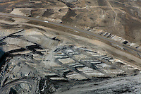 aerial photograph exposed veins of coal Interstate I-80, Kemmerer, Wyoming