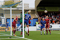 Liverpool Ladies goalkeeper, Siobhan Chamberlain, punches the ball clear to foil Chelsea's Katie Chapman during Chelsea Ladies vs Liverpool Ladies, FA Women's Super League FA WSL1 Football at Kingsmeadow on 7th October 2017