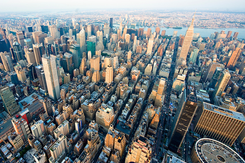 Aerial view of midtown Manhattan over the Garment District and including Madison Square Garden, Times Square and the Empire State Building.