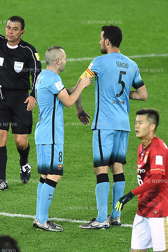 (L-R) Andres Iniesta, Sergio Busquets (Barcelona), <br /> DECEMBER 17, 2015 - Football / Soccer : <br /> FIFA Club World Cup Japan 2015 semi-fina match <br /> between FC Barcelona 3-0 Guangzhou Evergrande <br /> at Yokohama International Stadium, Kanagawa, Japan. <br /> (Photo by AFLO SPORT)