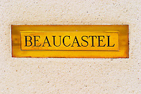 Brass letter box. Chateau de Beaucastel, Domaines Perrin, Courthézon Courthezon Vaucluse France Europe