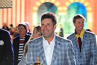 Winning European Captain Jose Maria Olazabal (ESP) leaves the Closing Ceremony after Sunday's Singles Matches of the 39th Ryder Cup at Medinah Country Club, Chicago, Illinois 30th September 2012 (Photo Colum Watts/www.golffile.ie)