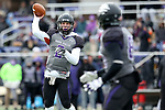 SIOUX FALLS, SD - NOVEMBER 10: Caden Walters #2 from the University of South Falls passes the ball for a two point conversion against Wayne State during their game Saturday afternoon at Bob Young Field in Sioux Falls. (Photo by Dave Eggen/Inertia)