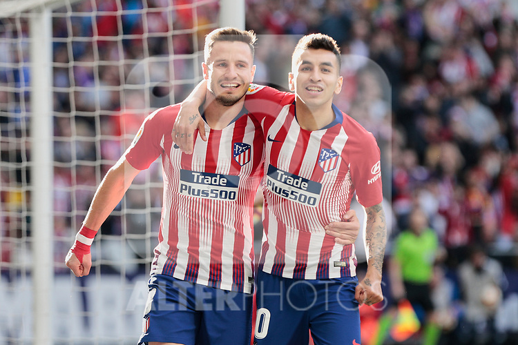 Atletico de Madrid's Saul Niguez (L) and Angel Martin Correa (R) celebrate goal during La Liga match between Atletico de Madrid and CD Leganes at Wanda Metropolitano stadium in Madrid, Spain. March 09, 2019. (ALTERPHOTOS/A. Perez Meca)