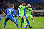 01.12.2018, wirsol Rhein-Neckar-Arena, Sinsheim, GER, 1 FBL, TSG 1899 Hoffenheim vs FC Schalke 04, <br /> <br /> DFL REGULATIONS PROHIBIT ANY USE OF PHOTOGRAPHS AS IMAGE SEQUENCES AND/OR QUASI-VIDEO.<br /> <br /> im Bild: Suat Serdar (FC Schalke 04 #8) gegen Pavel Kaderabek (TSG Hoffenheim #3) und Kasim Adams (TSG Hoffenheim #15)<br /> <br /> Foto &copy; nordphoto / Fabisch