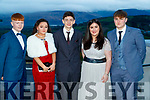 Matthew Burke (Gaelcholáiste Chiarraí), Louise O'Sullivan (Mercy Mounthawk Secondary School, Tralee), Cian Morgan, Tara Murphy and Kian Regan (Gaelcholáiste Chiarraí), pictured at the TY Ball, at Ballyroe Heights Hotel, Tralee, on Saturday night last.