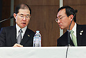 Panasonic president Kazuhiro Tsuga (R) and executive director Hideaki Kawai (L) answer questions from the media during a news conference at the company's headquarters on March 31, 2016, in Tokyo, Japan. Panasonic announced that it expects sales of 8.8 trillion yen ($78.28 billion) for the 2018 fiscal year, 12 percent less that its previous forecast target of 10 trillion yen because of an uncertain global economy. (Photo by Rodrigo Reyes Marin/AFLO)