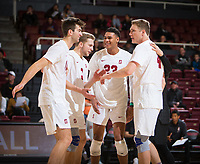 STANFORD, CA - January 5, 2019: Kyler Presho, Paul Bischoff, Jaylen Jasper, Eric Beatty at Maples Pavilion. The Stanford Cardinal defeated UC Santa Cruz 25-11, 25-17, 25-15.