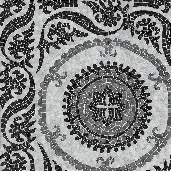 Suzani, a jewel glass hand cut mosaic, is part of the Silk Road Collection by Sara Baldwin for New Ravenna Mosaics. <br />