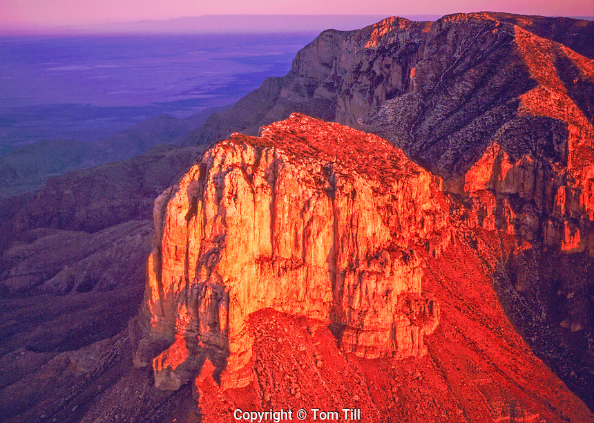 Aerial View of El Capitan Peak in Dawn Light, Guadalupe Mountains National Park, Texas