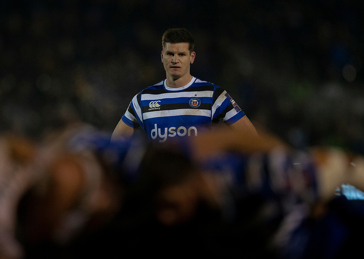 Bath Rugby's Freddie Burns<br /> <br /> Photographer Bob Bradford/CameraSport<br /> <br /> Gallagher Premiership - Bath Rugby v Gloucester Rugby - Monday 4th February 2019 - The Recreation Ground - Bath<br /> <br /> World Copyright &copy; 2019 CameraSport. All rights reserved. 43 Linden Ave. Countesthorpe. Leicester. England. LE8 5PG - Tel: +44 (0) 116 277 4147 - admin@camerasport.com - www.camerasport.com