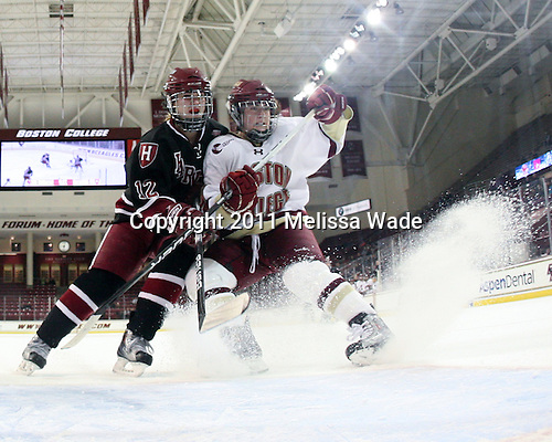 Ashley Wheeler (Harvard - 12), Ashley Motherwell (BC - 18) - The Boston College Eagles defeated the Harvard University Crimson 3-1 to win the 2011 Beanpot championship on Tuesday, February 15, 2011, at Conte Forum in Chestnut Hill, Massachusetts.