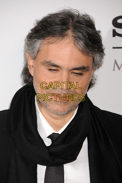 ANDREA BOCELLI.Clive Davis 2008 Pre-Grammy Awards Party at the Beverly Hilton Hotel, Beverly Hills, California, USA..February 9th, 2008.headshot portrait boccelli stubble facial hair black scarf blind.CAP/ADM/BP.©Byron Purvis/Admedia/Capital Pictures