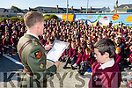 Defence Force Lt Denis Sheahan and Allen Wall Griffin  read from the  proclamation  to  commemorate the 100 year anniversary at Moyderwell Primary  on Tuesday
