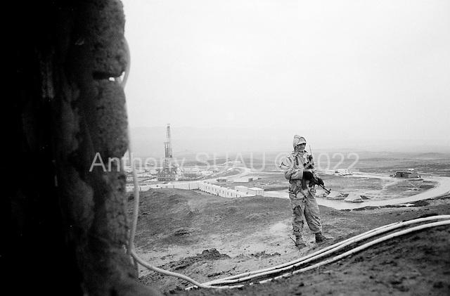 near Tawke, Kurdistan.January 25, 2006..Security surrounds the new DOA oil rig near the Tawke village in Kurdistan.