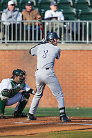 Connor Teykl (3) of the Rice Owls at bat against the Charlotte 49ers at Hayes Stadium on March 6, 2015 in Charlotte, North Carolina.  The Owls defeated the 49ers 4-2.  (Brian Westerholt/Four Seam Images)