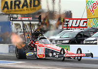 Feb 20, 2015; Chandler, AZ, USA; NHRA top fuel driver Leah Pritchett during qualifying for the Carquest Nationals at Wild Horse Pass Motorsports Park. Mandatory Credit: Mark J. Rebilas-