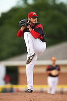 Batavia Muckdogs relief pitcher Reilly Hovis (28) during the first game of a doubleheader against the Mahoning Valley Scrappers on August 17, 2016 at Dwyer Stadium in Batavia, New York.  Mahoning Valley defeated Batavia 10-3. (Mike Janes/Four Seam Images)