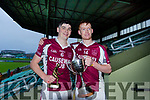 Causeway's Jason Diggin with the Man of the Match Award and their captain Brandon Barrett with the U21 Hurling C/ship Cup.