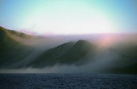 Fog rolls of shore in baja