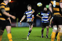 Laurence May of Bath United kicks for touch. Aviva A-League match, between Bath United and Wasps A on December 28, 2016 at the Recreation Ground in Bath, England. Photo by: Patrick Khachfe / Onside Images