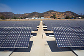 2783 panel Solar Array at the Hill Canyon Wastewater Treatment Plant. The Array provides about 15% of the facility's energy needs. Installation by Martifer Solar USA. Camarillo, Ventura County, California, USA