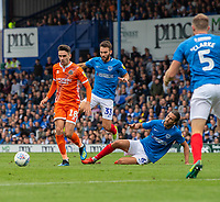 Portsmouth's Louis Dennis (left) under pressure from Portsmouth's Ben Close &amp; Christian Burgess (right) <br /> <br /> Photographer David Horton/CameraSport<br /> <br /> The EFL Sky Bet League One - Portsmouth v Shrewsbury Town - Saturday September 8th 2018 - Fratton Park - Portsmouth<br /> <br /> World Copyright &copy; 2018 CameraSport. All rights reserved. 43 Linden Ave. Countesthorpe. Leicester. England. LE8 5PG - Tel: +44 (0) 116 277 4147 - admin@camerasport.com - www.camerasport.com