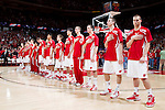 Wisconsin Badgers line up during the National Anthem prior to a Big Ten Conference NCAA college basketball game against the Illinois Fighting Illini on Sunday, March 4, 2012 in Madison, Wisconsin. The Badgers won 70-56. (Photo by David Stluka)