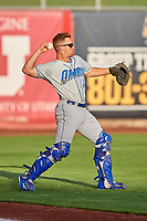 Parker Morin (16) of the Omaha Storm Chasers before the game against the Salt Lake Bees in Pacific Coast League action at Smith's Ballpark on May 8, 2017 in Salt Lake City, Utah. Salt Lake defeated Omaha 5-3. (Stephen Smith/Four Seam Images)