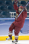 Chris Collins celebrates winning the breakaway contest - the first senior to win all season.  The Boston College Eagles practiced at the Bradley Center in Milwaukee, Wisconsin, on April 7, 2006 in preparation for the 2006 Frozen Four Final game vs. the University of Wisconsin on April 8, 2006.