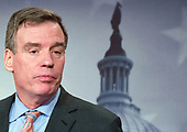 United States Senator Mark Warner (Democrat of Virginia), Vice Chairman, US Senate Select Committee on Intelligence, holds a joint press conference with US Senator Richard Burr (Republican of North Carolina), Chairman, US Senate Select Committee on Intelligence in the US Capitol to discuss the upcoming committee hearings on Russian intelligence activities in the US and around the world on Wednesday, March 29, 2017.<br /> Credit: Ron Sachs / CNP