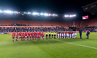 HOUSTON, TX - FEBRUARY 03: The USWNT and Costa Rica line up during a game between Costa Rica and USWNT at BBVA Stadium on February 03, 2020 in Houston, Texas.