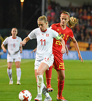 20181005 - LEUVEN , BELGIUM : Belgian Julie Biesmans (R) and Switzerland's Lara Dickenmann (L)  pictured during the female soccer game between the Belgian Red Flames and Switzerland , the first leg in the semi finals play offs for qualification for the World Championship in France 2019, Friday 5 th october 2018 at OHL Stadion Den Dreef in Leuven , Belgium. PHOTO SPORTPIX.BE | DIRK VUYLSTEKE